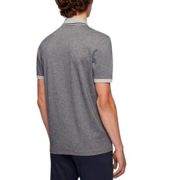 BOSS Regular fit Grey polo shirt in melange cotton rear