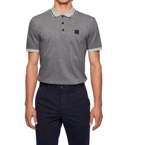BOSS Regular fit Grey polo shirt in melange cotton up