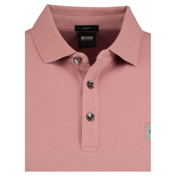 BOSS Slim fit rose polo shirt in washed pique with logo patch closed