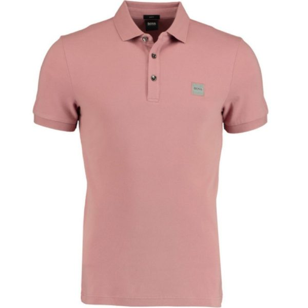 BOSS Slim fit rose polo shirt in washed pique with logo patch front