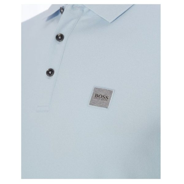 BOSS Slim fit sky blue polo shirt in washed pique with logo patch close
