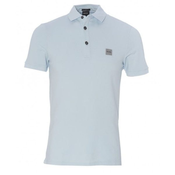 BOSS Slim fit sky blue polo shirt in washed pique with logo patch front