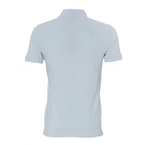 BOSS Slim fit sky blue polo shirt in washed pique with logo patch rear