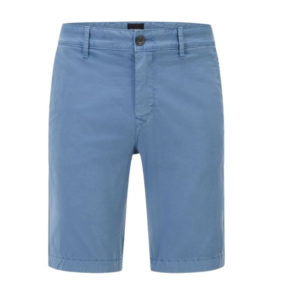 BOSS Tapered fit shorts in garment dyed stretch cotton twill in Blue Front