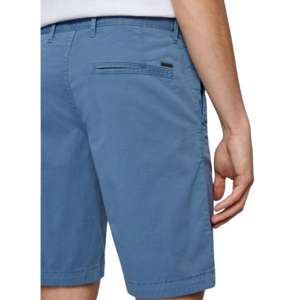 BOSS Tapered fit shorts in garment dyed stretch cotton twill in Blue Rear