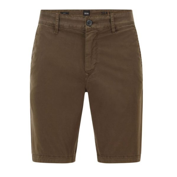 BOSS Tapered fit shorts in garment dyed stretch cotton twill in Khaki front