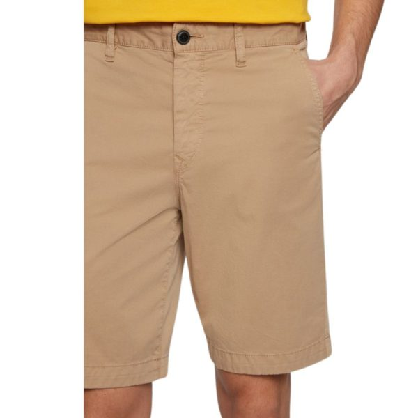 BOSS Tapered fit shorts in garment dyed stretch cotton twill in Medium Beige front