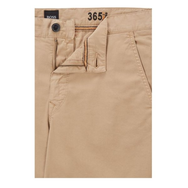 BOSS Tapered fit shorts in garment dyed stretch cotton twill in Medium pocket Beige