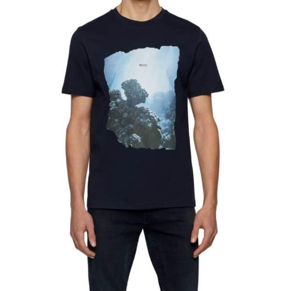 BOSS black Cotton T shirt with coastal graphic print F2