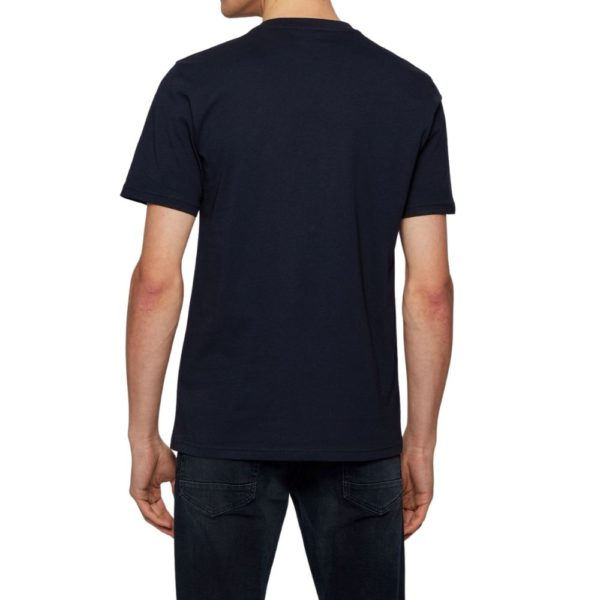 BOSS black Cotton T shirt with coastal graphic print rear