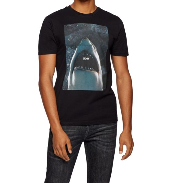 BOSS black Cotton jersey T shirt with underwater print up