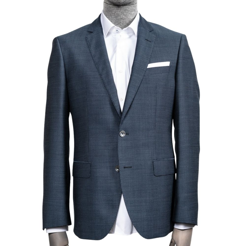 BOSS slim fit jacket in Navy with blue and red detail Front