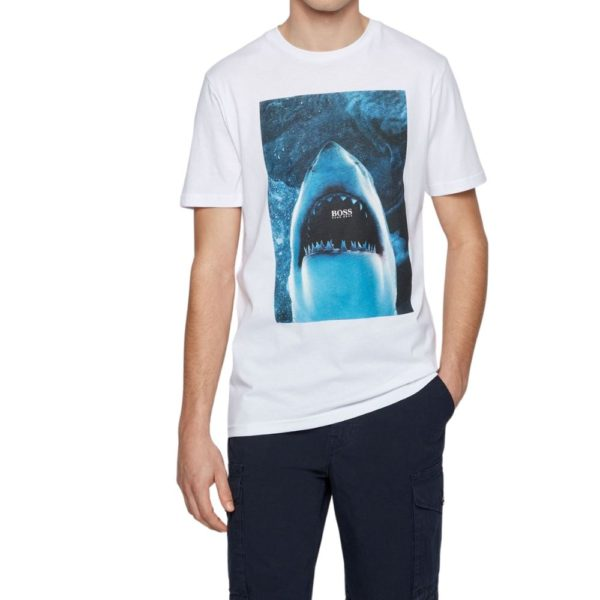 BOSS white Cotton jersey T shirt with underwater print close