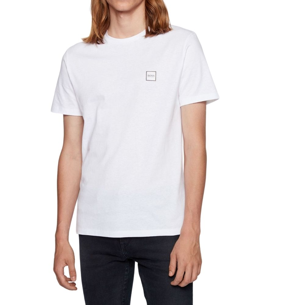 BOSS white Crew neck T shirt in single jersey cotton Front