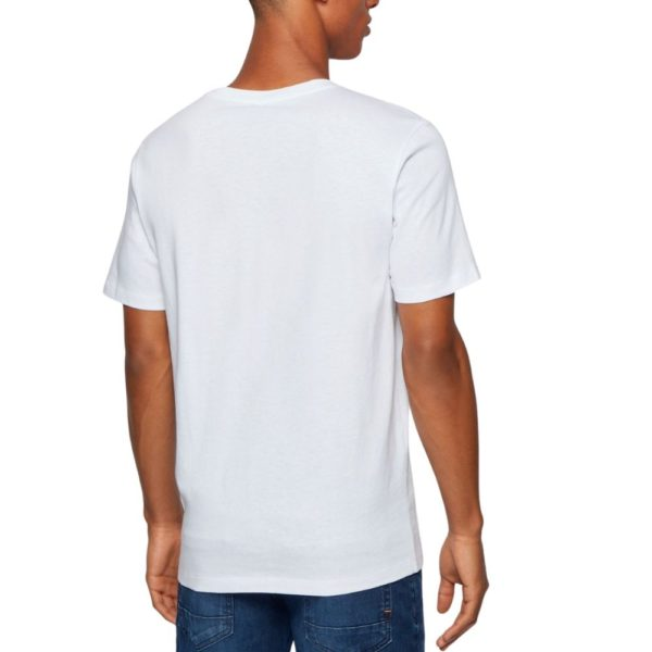 BOSS white Crew neck T shirt in single jersey cotton rear