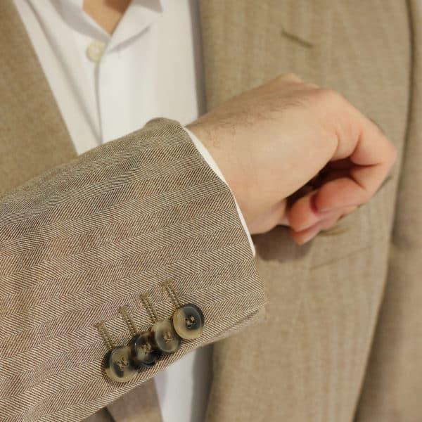 Boss soft beige herringbone jacket buttons