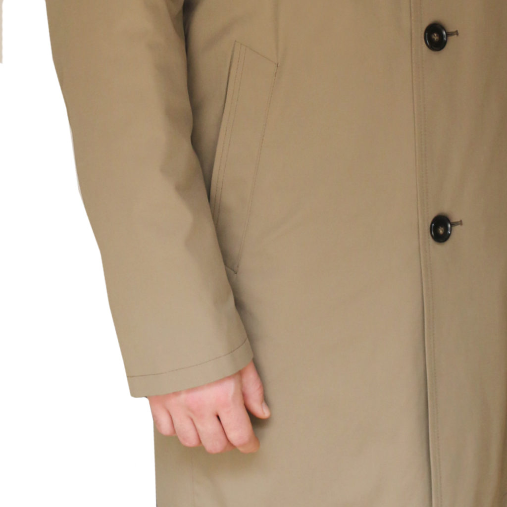 Bugatti taupe raincoat detail