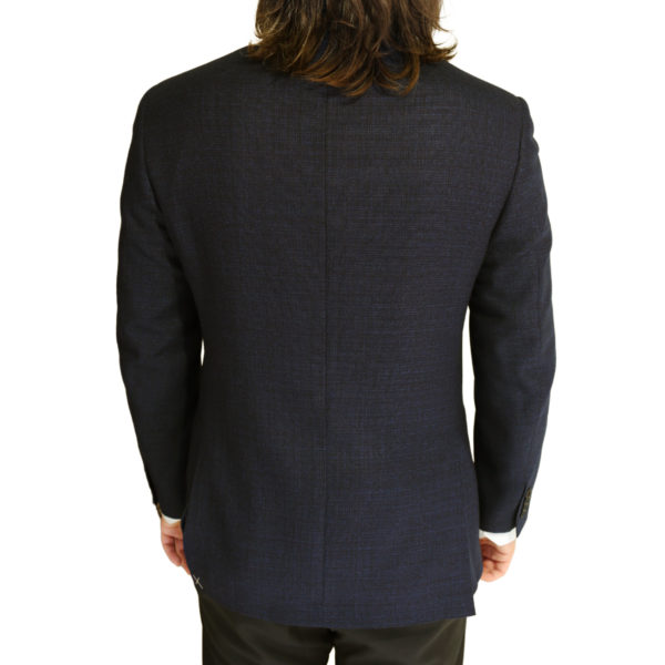 CANALI PURE WOOL MICRO FLECK JACKET IN NAVY BROWN back