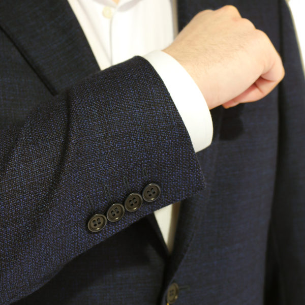 CANALI PURE WOOL MICRO FLECK JACKET IN NAVY BROWN buttons