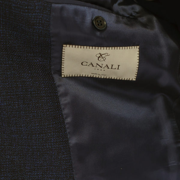 CANALI PURE WOOL MICRO FLECK JACKET IN NAVY BROWN lining