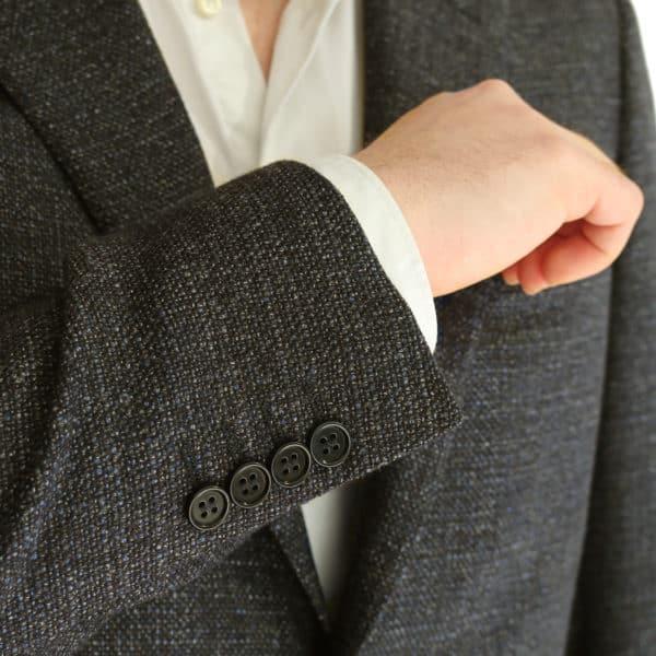 CANALI WOOL SPECKLED JACKET IN DARK BROWN button detail