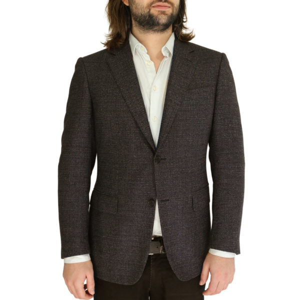 CANALI WOOL SPECKLED JACKET IN DARK BROWN front