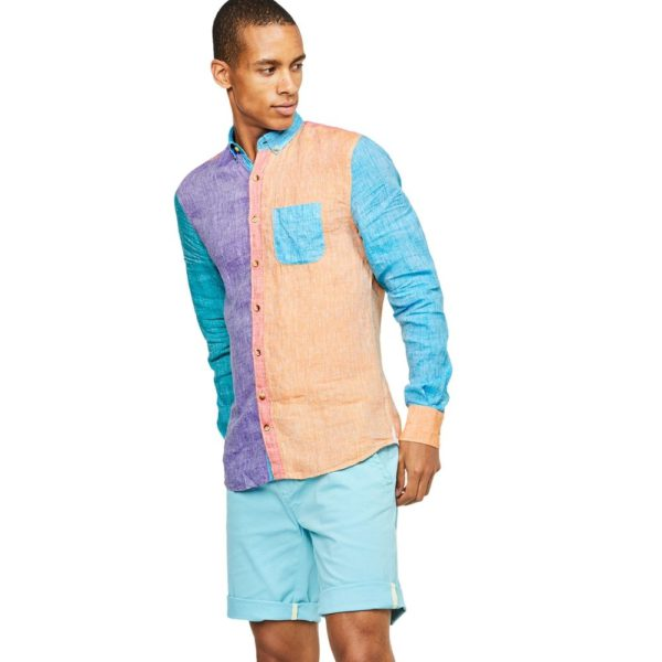 COLOURS SONS LINEN SHIRT COLORBLOCK1