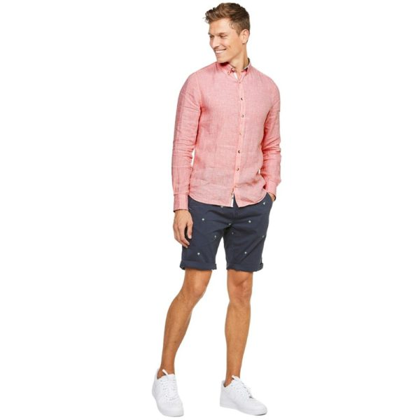 COLOURS SONS LINEN SHIRT HOUNDSTOOTH SALMON 1