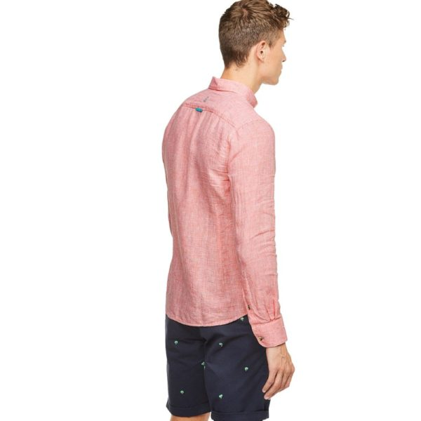 COLOURS SONS LINEN SHIRT HOUNDSTOOTH SALMON1