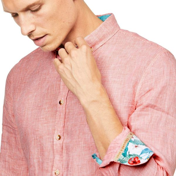 COLOURS SONS LINEN SHIRT HOUNDSTOOTH SALMON2