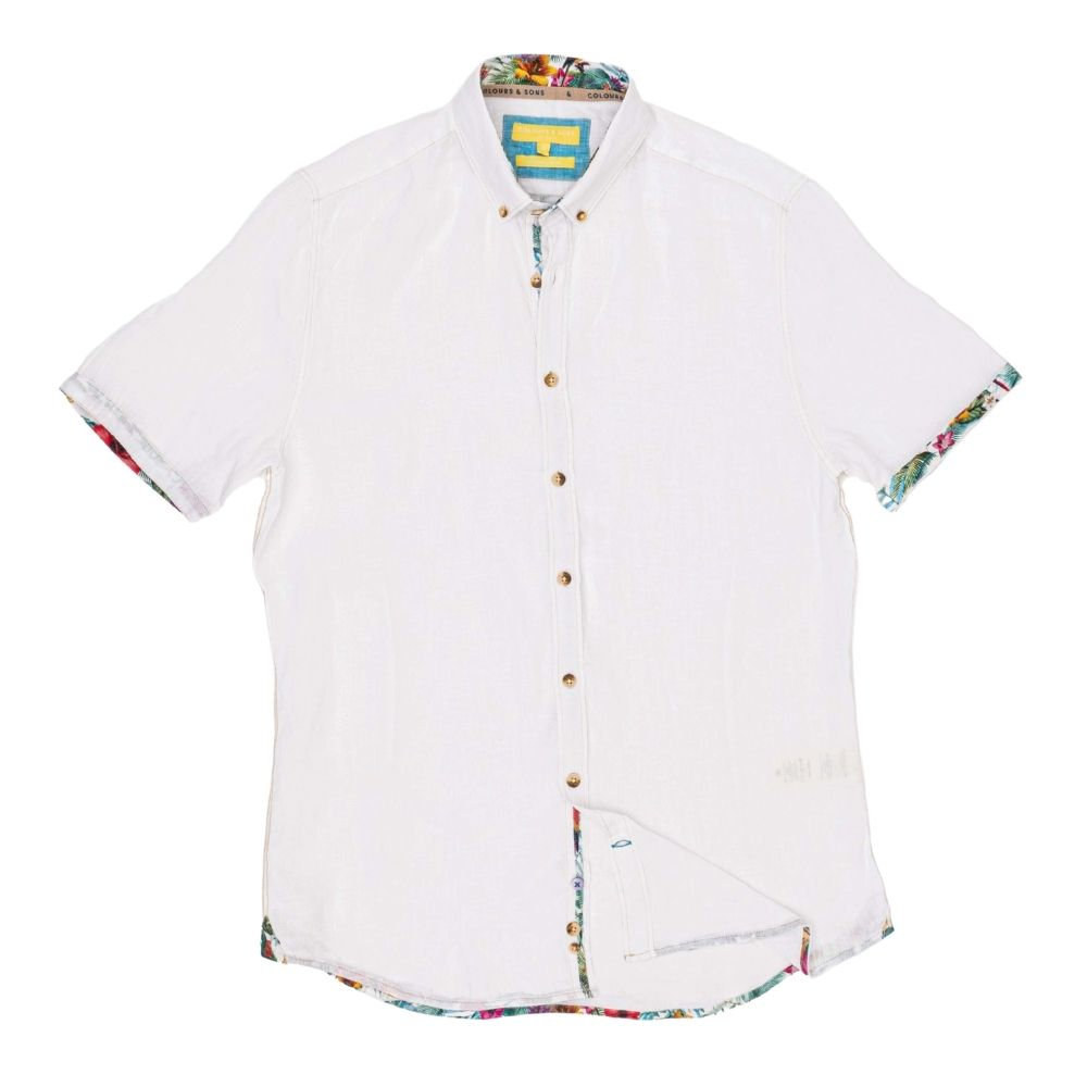 COLOURS SONS OXFORD SHORT SLEEVE SHIRT WHITE