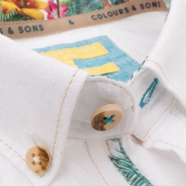 COLOURS SONS OXFORD SHORT SLEEVE SHIRT WHITE1