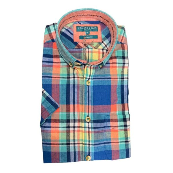 COLOURS SONS SHORT SLEEVE SHIRT CHECKED COLOURFUL