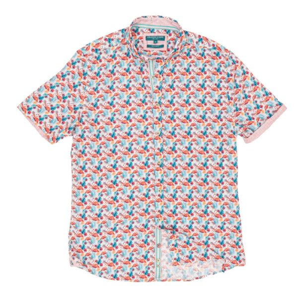 COLOURS SONS SHORT SLEEVE SHIRT FLAMINGO MULTICOLORED
