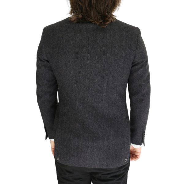 Canali charcoal textured jacket back
