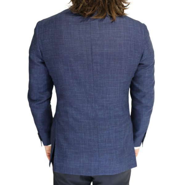 Canali fine textured blue jacket back