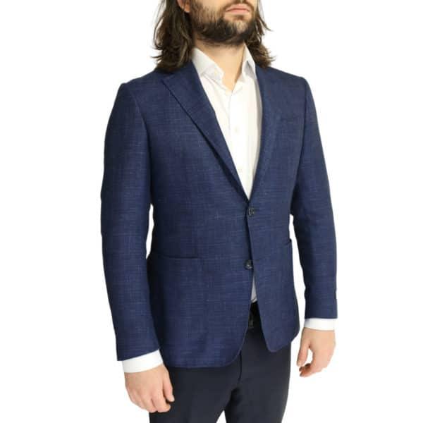 Canali fine textured blue jacket side