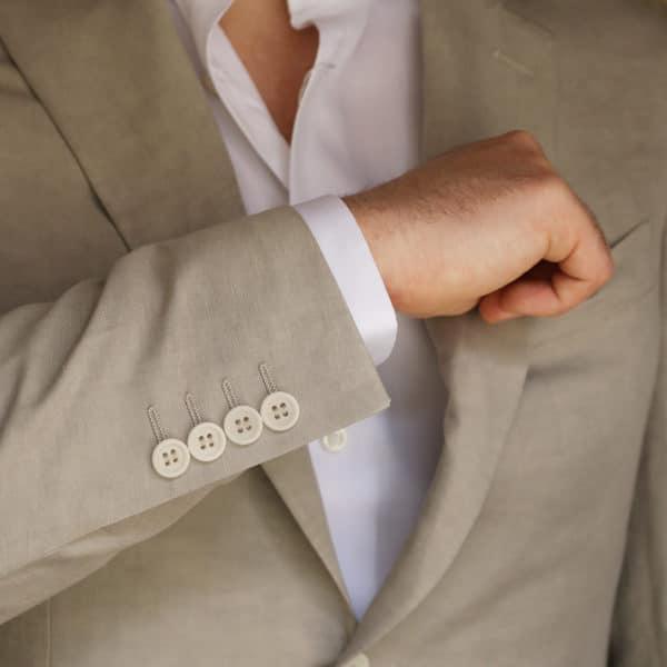 Canali jacket beige button detail