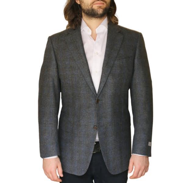 Canali jacket grey windowpane front1
