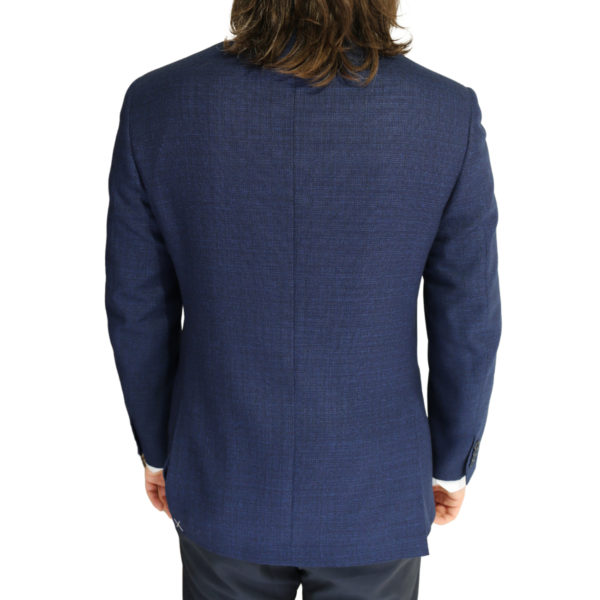 Canali jacket navy fine textured back