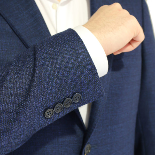 Canali jacket navy fine textured buttons