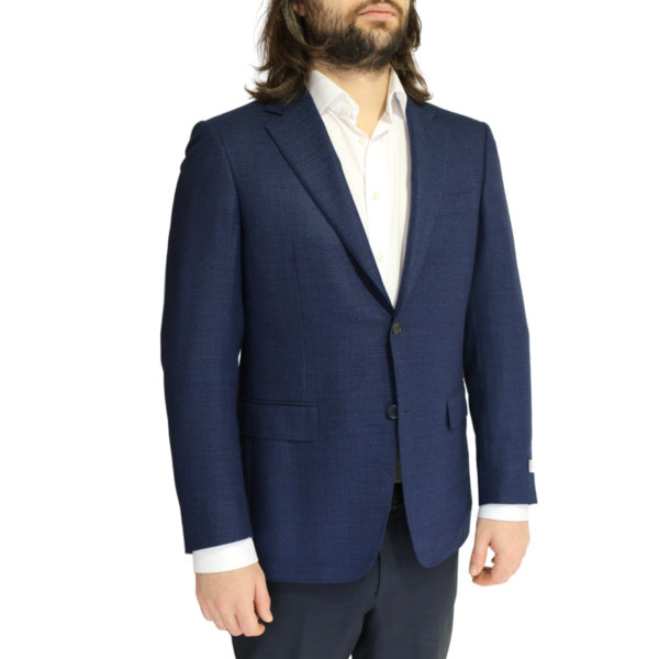Canali jacket navy fine textured side