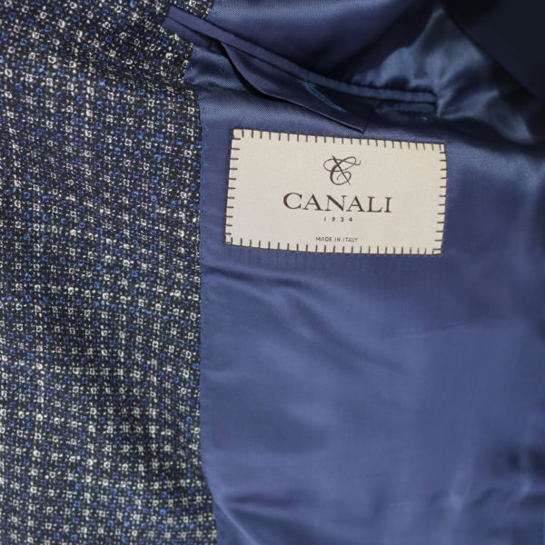 Canali jacket navy with silver dots lining