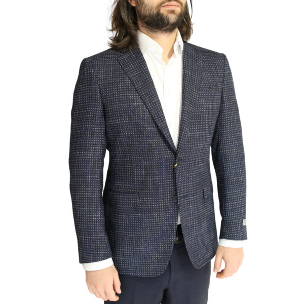Canali jacket navy with silver dots side
