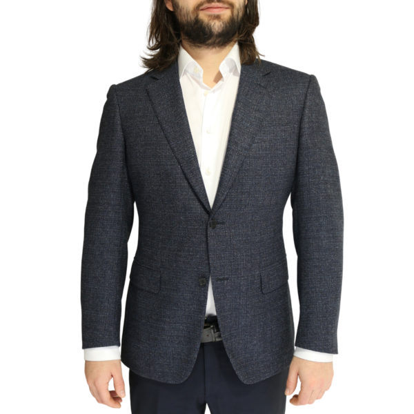 Canali jacket wool speckled navy charcoal
