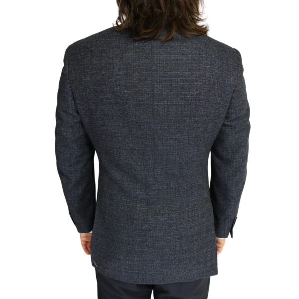 Canali jacket wool speckled navy charcoal back