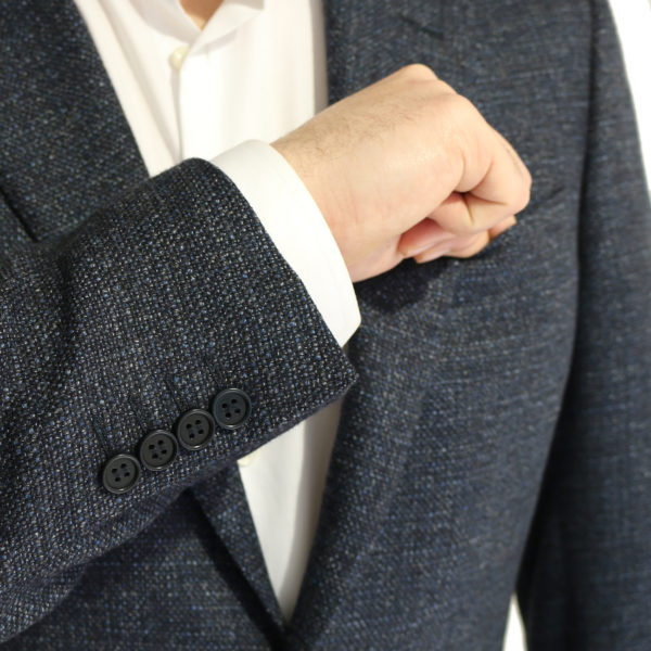 Canali jacket wool speckled navy charcoal buttons
