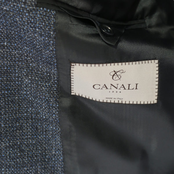 Canali jacket wool speckled navy charcoal lining