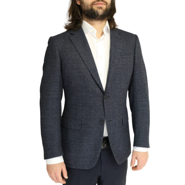 Canali jacket wool speckled navy charcoal side