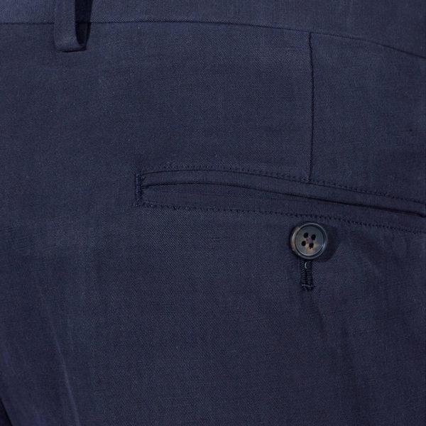 Canali silk linen navy trouser detail back pocket